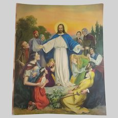 Jesus Teaching the Flock Old Large Print