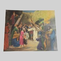 Old Large Print Jesus Carrying His Cross Religious Art