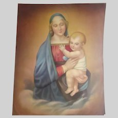 Virgin Mary Jesus Madonna And Child Old Large Print