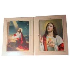 Set 2 Jesus Sacred Heart Fine Italian Prints In Original Hard Folder