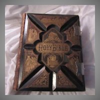 Antique Holy Bible Leather Family Size