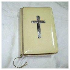 Antique  Book Of Common Prayer Ivorine Binding Sterling Cross Oxford University Press