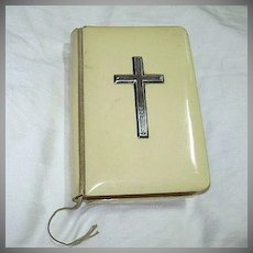 Antique  Book Of Common Prayer Ivorine Binding Sterling Cross Oxford University Press
