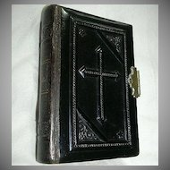 1848 French Prayer Book Petit Paroissen Celluloid Embossed Cross