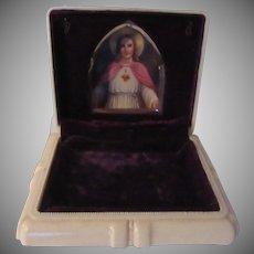 Bakelite Velvet Jesus Sacred Heart Large Rosary Case