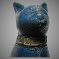 Large Blue Rosenthal Cat Statue Figure