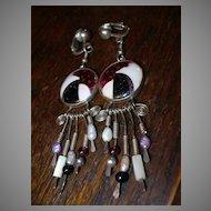 Ricky Frank Sterling Silver Cloisonne Enamel Earrings Artist Signed & Dated Fine Art Jewelry