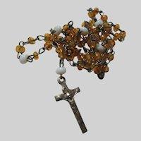 Tiny Miniature Rosary Prayer Beads Yellow White