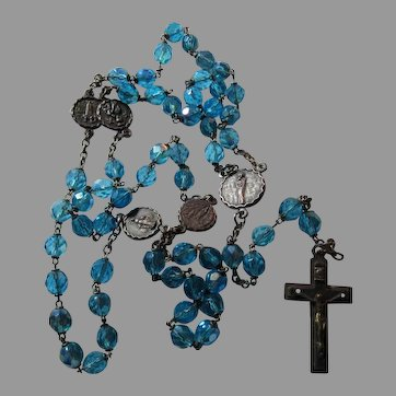 Blue Glass Crystals Rosary Our Lady Of Snows Fatime Perpetual Help Lourdes
