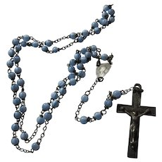 Baby Blue Glass Beads Small Rosary Virgin Mary Center