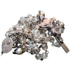 Faceted Crystals Rosary Beads Sterling Jesus Sacred Mary Immaculate Heart Center