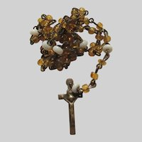 Tiny Miniature Yellow Glass Beads Rosary