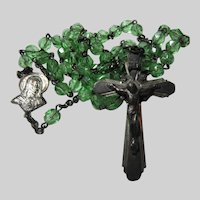 Green Faceted Glass Beads Rosary Sterling Silver Crucifix