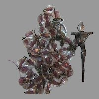 Rosary With Clear to Copper Lavender Tone Cased Glass Beads