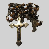 Old Tiger Eye Stone Faceted Beads Rosary
