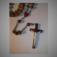 Rare Old Celluloid Catholic Rosary Unique Crucifix Fine Sacramental Prayer Beads