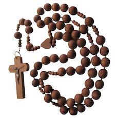 Huge Wood Rosary Lourdes Immaculate Heart Wall Prayer Beads Crucifix