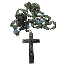 Opalescent Glass Wire Wrapped Beads Rosary Sterling Silver Crucifix