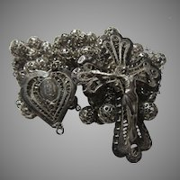 Large Rosary Sterling Silver Filigree Beads Heart Center Fancy Crucifix