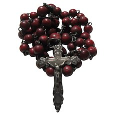 Small Maroon Beads Rosary Holy Ghost Center Rare Design