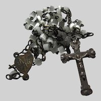 Very Small Mother of Pearl Rosary Sterling Crucifix