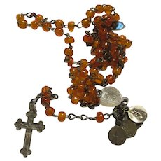 Rare Orange Glass Beads Miniature Rosary With 5  Miniature Medals