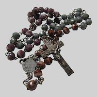 Very Small Rosary Violet Green Cinnamon Slag Glass Faceted Beads