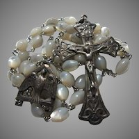 Chapel Sterling Silver Mother of Pearl Rosary Holy Ghost Medal
