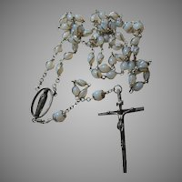 Rosary of Opalescent Glass Wire Wrapped Beads