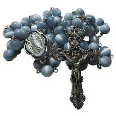 Rosary Light Blue Mother of Pearl Beads Large Enamel Lourdes Center