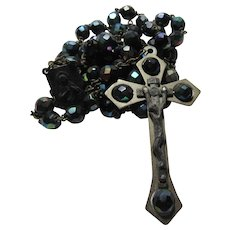 Blue Iridescent Carnival Glass Type Beads Rosary Italy