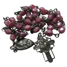 St Anthony Chaplet Rosary Pink Beads Mary Jesus Center Medal
