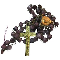 Purple Violet Faceted Glass Beads Old Rosary