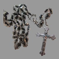 Rosary With Black to Clear Cased Glass Beads