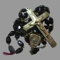 Old Rosary Black Glass Beads Rome