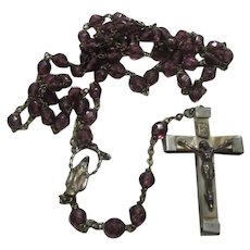Lourdes France Violet Purple Glass Beads Rosary