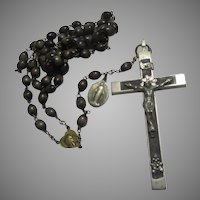 Old Large Nuns Rosary Wood Beads Fine Crucifix
