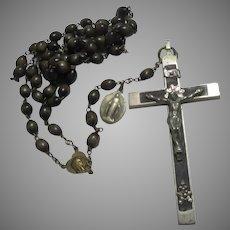 Old Large Nuns Rosary Wood Beads Fine Crucifix