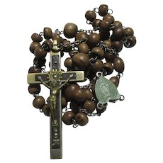 Old French Wood Rosary Prayer Beads Nuns Estate