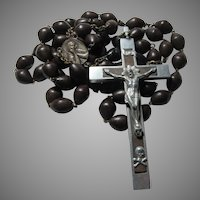 French Large Nuns Rosary Wood Beads