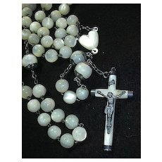 Antique MOP Mother Of Pearl French Rosary Prayer Beads