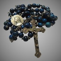 Small Old Rosary Deep Blue Real Stones Beads Signed Center Mary Medal 1910 Crucifix