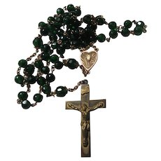 Emerald Green Faceted Glass Beads Rosary Eucharist Center
