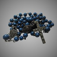 Deep Blue Rosary Real Stone Unusual Heart Center Medal With Flowers