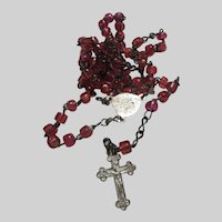 Rose Pink Glass Beads Miniature Rosary
