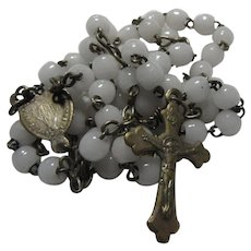 Small Old French Rosary White Glass Beads