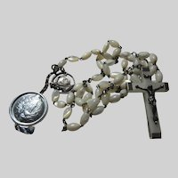 Old Mother of Pearl  Beads Rosary Lourdes