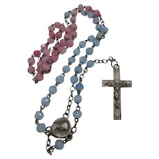 Pink and Blue Glass Beads Miniature Rosary