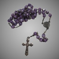 Small French Violet Purple Slag Glass Beads Rosary