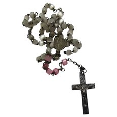 White Mother of Pearl Miniature Rosary With Pink
